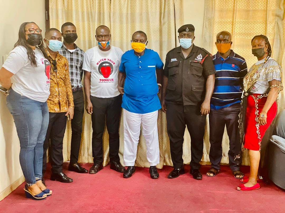 The Headmaster, Mr. Wiafe Akenten (in blue) with Team Members from Watch Your Tongue Foundation Ghana